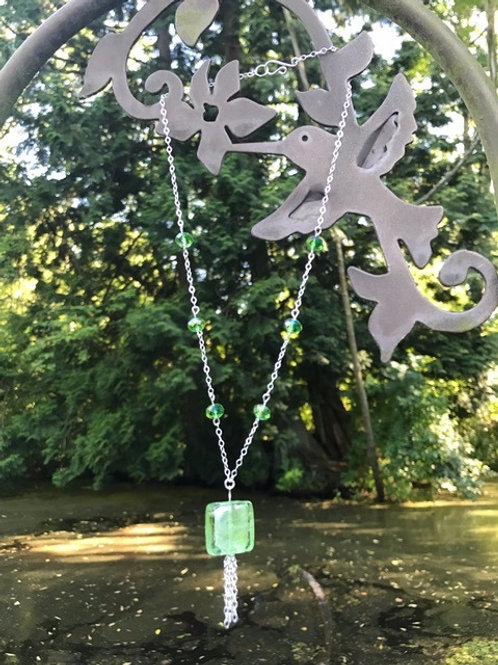 Green Glass and Silver Focal Set