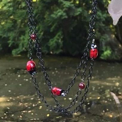 3-Strand Ladybug Necklace