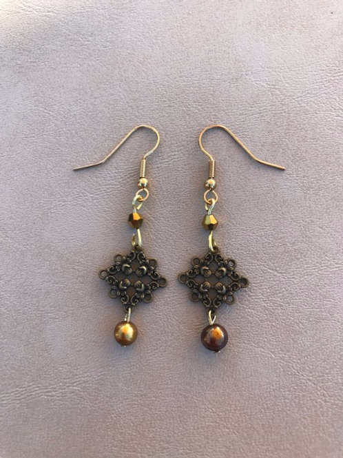 Antique Style Earrings with Golden Pearls