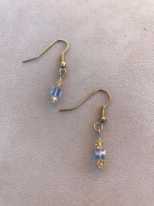Blue and Gold Petite Earrings