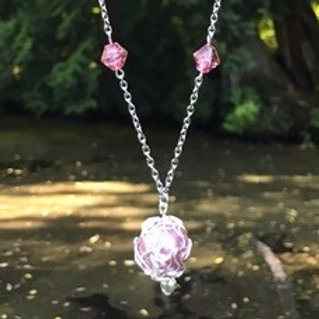 Pink Wire-wrapped Bead Necklace