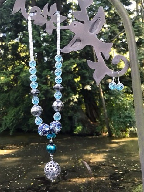 Blue and Silver-Tone Necklace and Earring Set