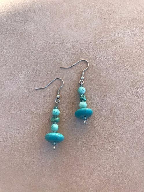 4-bead Turquoise Earrings