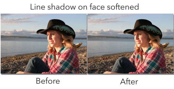 Sharp shadow on face softened