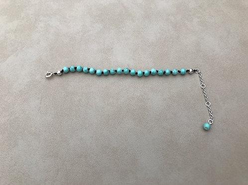 18 Bead Turquoise Tone Mala Bracelet