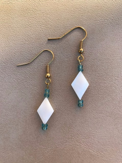 White Shell and Blue Bead Earrings