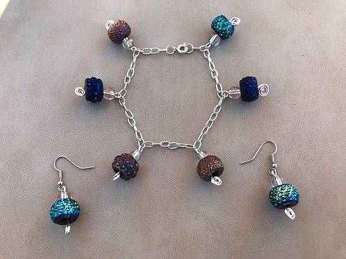 Multi-color Sparkle Bracelet and Earring Set