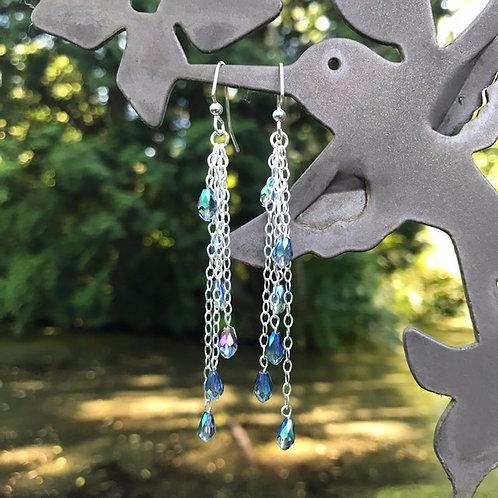 Blue Bead and Silver Dangle Earrings
