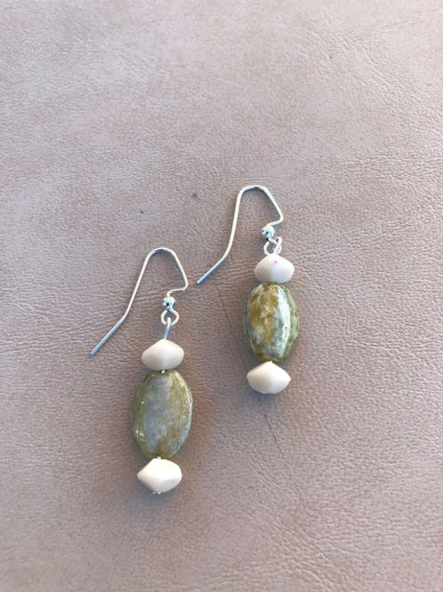 Green and White Shell Earrings
