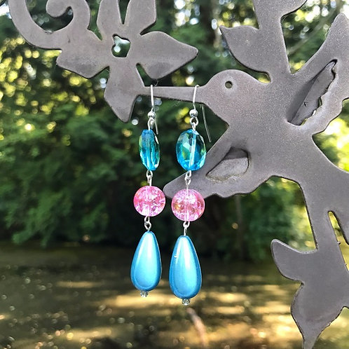 Pink and Blue Satin Drop Earrings