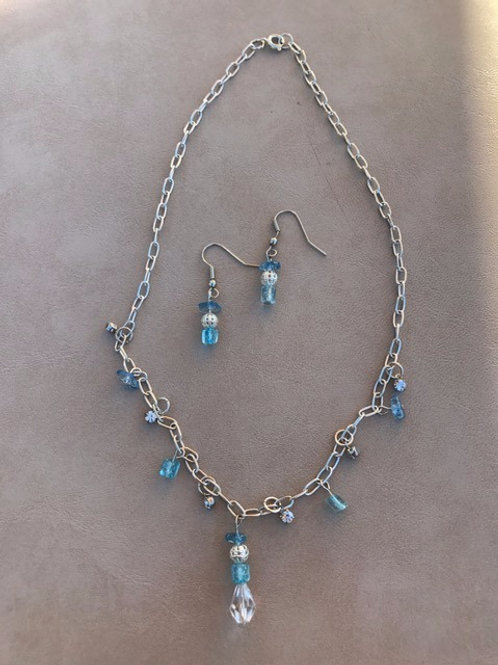 2-tone Blue Necklace and Earring Set
