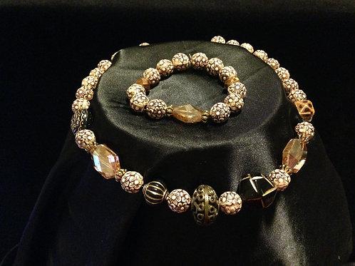 Brown-tone Necklace and Bracelet Set