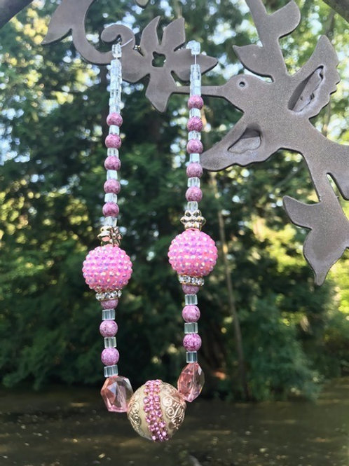 Pink and Gold Necklace and Bracelet Set