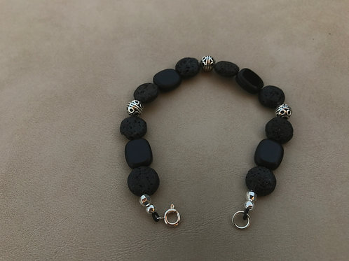 Black Lava Bead and Silver Bracelet