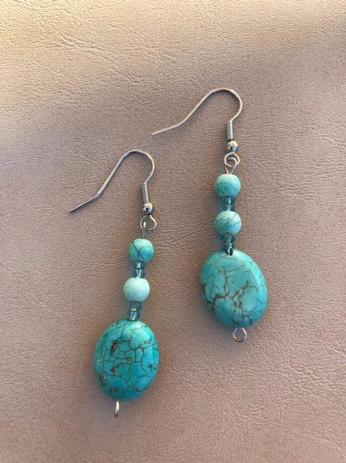 3-bead Turquoise Style Earrings