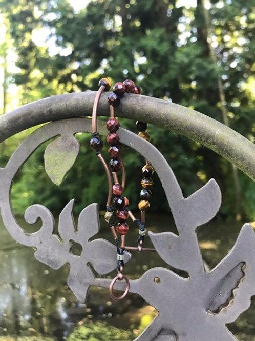 2-strand Tiger Eye and Bronze Bracelet