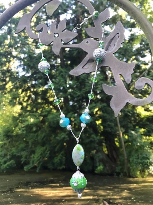 Bright Green, Blue and Silver Necklace on Hemp Cord