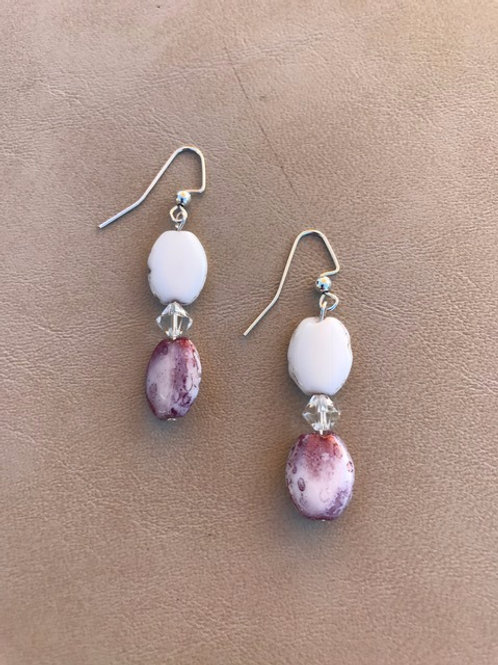Purple and White Oval Shell Dangle Earrings