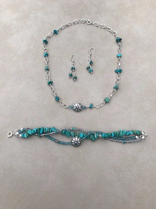 Turquoise Necklace, Bracelet, Earring Set