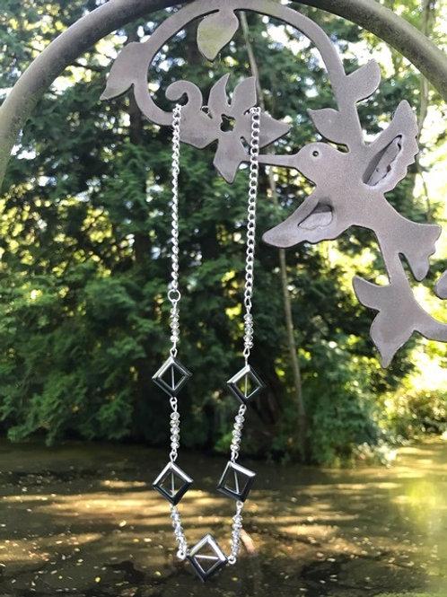 Diamond-shape Hematite and Bead Necklace