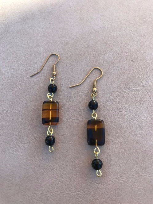 Black and Gold Striped Earrings