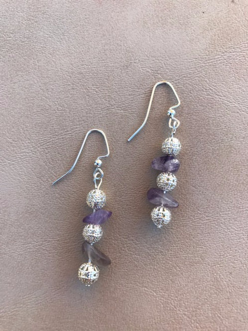 Amethyst and Silver Dangle Earrings