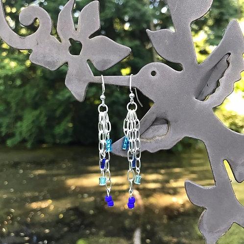 Square Blue Bead Earrings