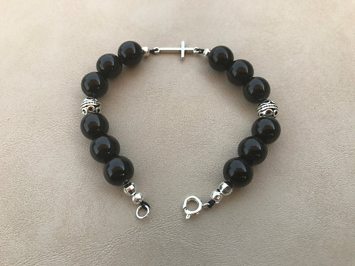 Sterling Silver Cross and Black Bead Bracelet