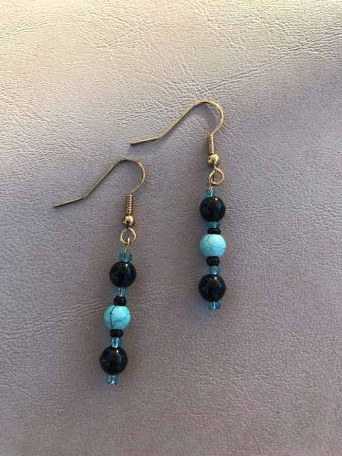 Black and Turquoise Beaded Earrings