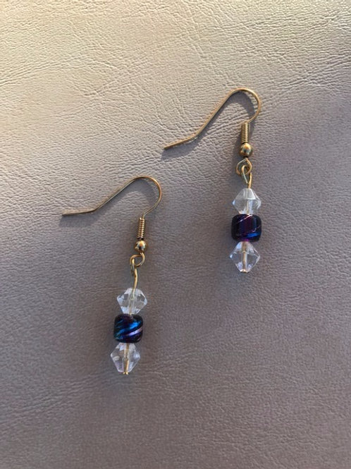 Purple and Clear Bead Earrings