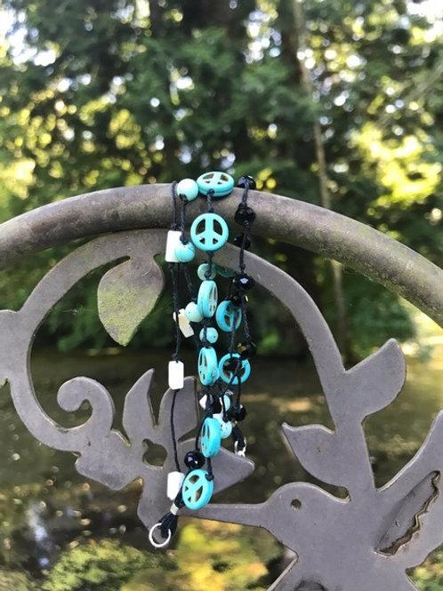 Turquoise and White Magnesite 4-strand Bracelet