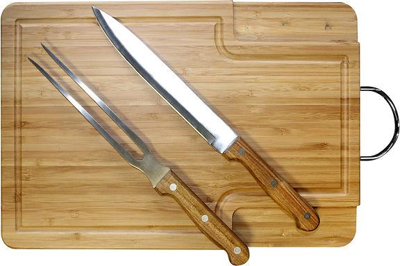 Tabla Asado con Juego Tenedor y Cuchillo