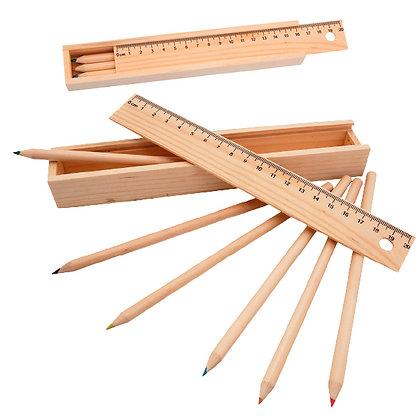 Set Lapices 6 unidades en cajita de madera con regla