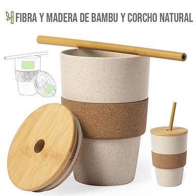 Vaso Pajita corcho Bamboo