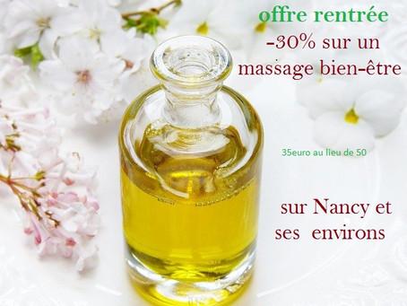 Offre de rentrée sur les massages bien-être !