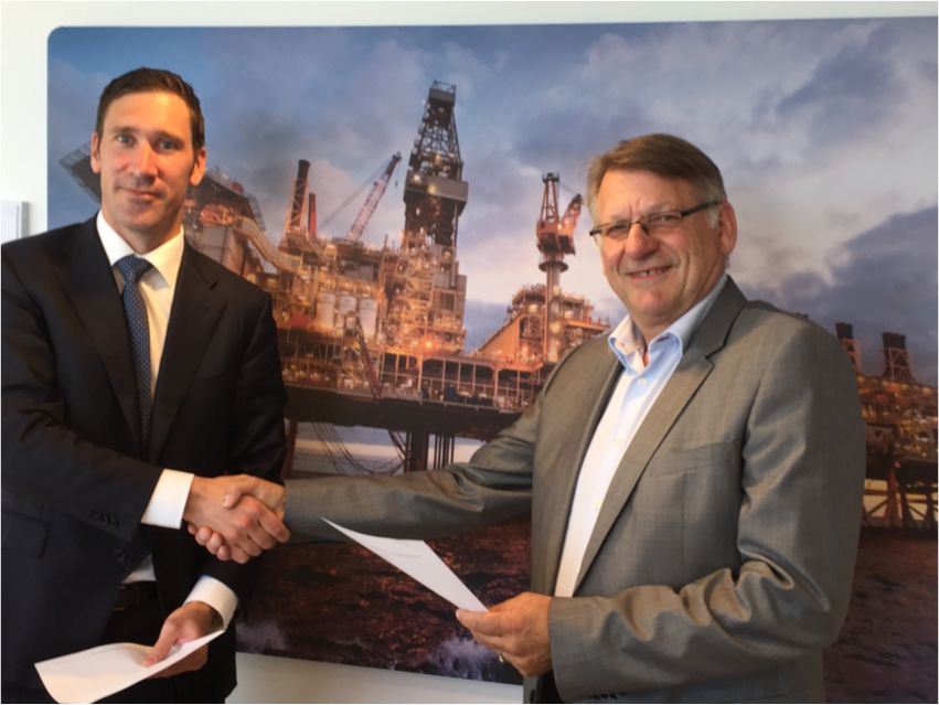 Signing of the Partner Agreement.  Left: Richard Vabo; Managing Director, Corporate Finance Fearnley Securities  Right: Per-Olaf Hustad; Senior Partner, Hustad and Granaas