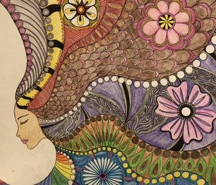 This is a page I colored in my coloring book.   The Art of Mindfulness: Serene and Tranquil Coloring.  She was colored with colored pencils.