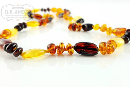 Multi Baroque Bean- Adult Amber Necklace