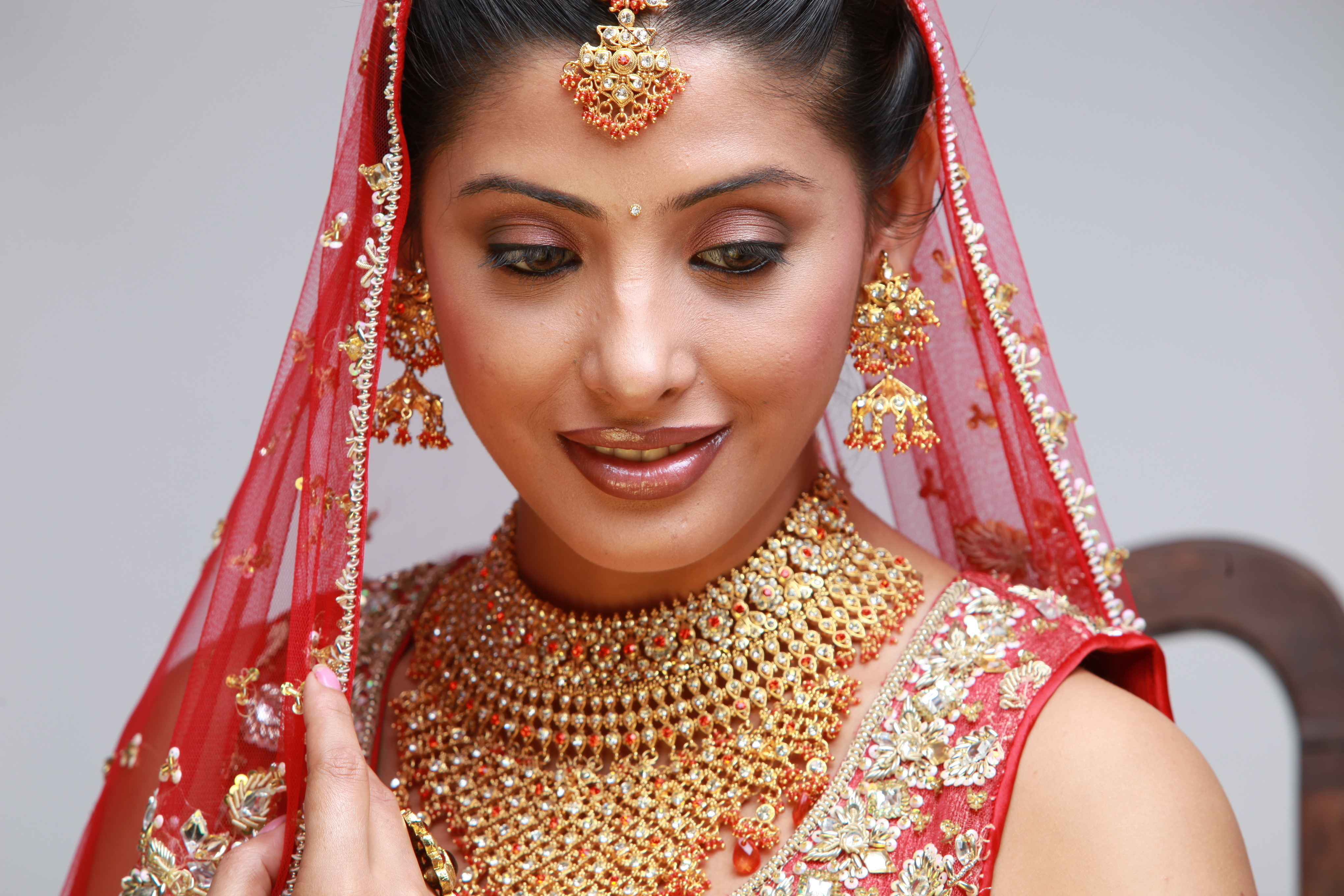 Indian bride in traditional bridal sari