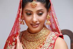 Indian bride in traditional bridal sari