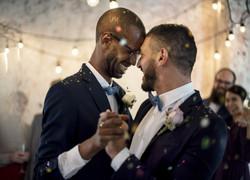 Closeup of Newlywed Gay Couple Dancing o
