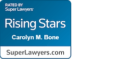 Super Lawyers Rising Stars Carolyn M Bone white text on blue background