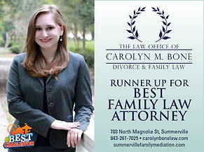 Summerville attorney Carolyn Bone, Runner Up for Best Family Law Attorney Charleston City Paper 2020, divorce lawyer, custody lawyer, female lawyer, mediator, Charleston sc, family court lawyer, divorce attorney, mediated divorce, best of charleston