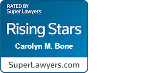 Super Lawyers Rising Star 2021 Carolyn Bone Summerville Divorce Lawyer, white text with blue background superlawyers.com