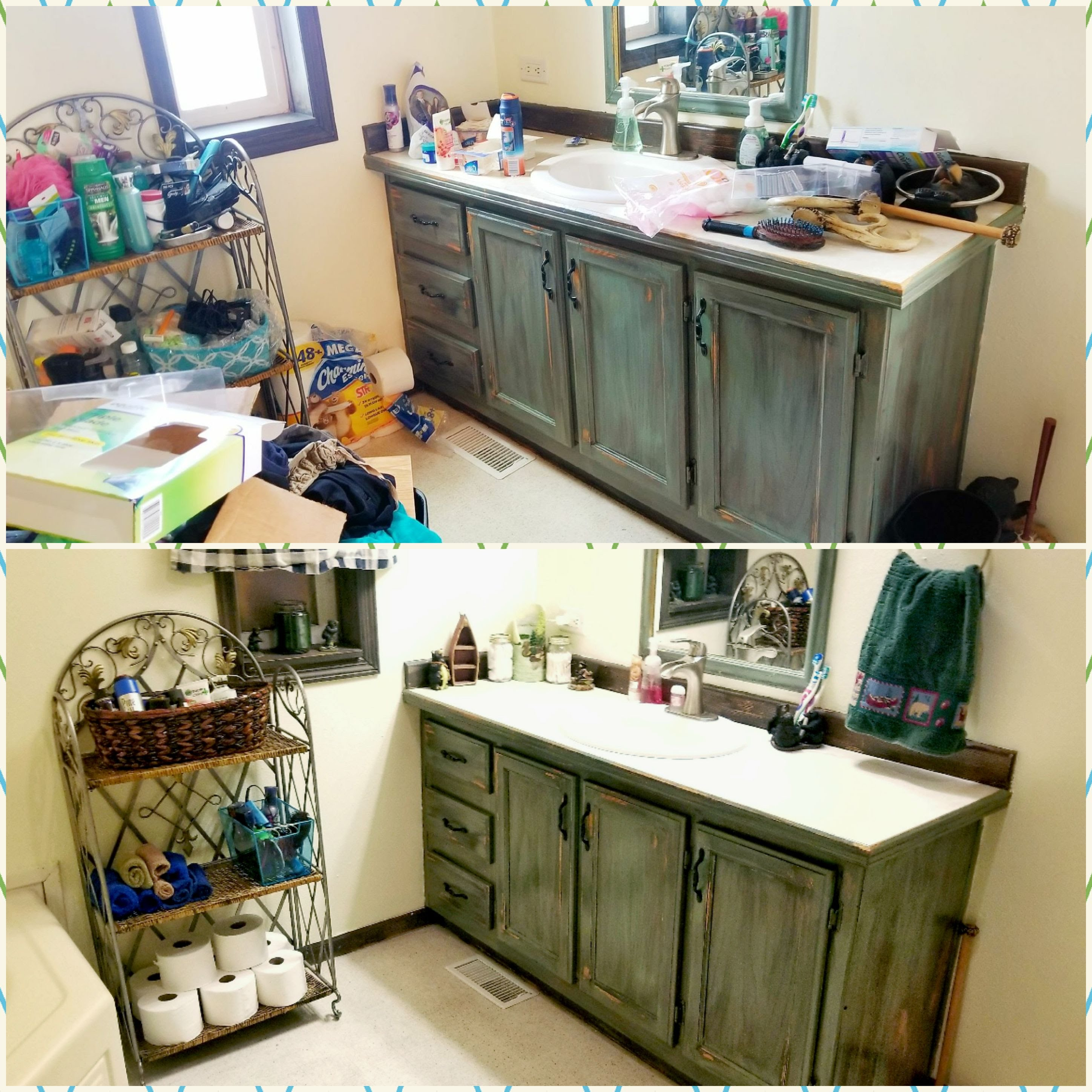 Before and After organized bathroom