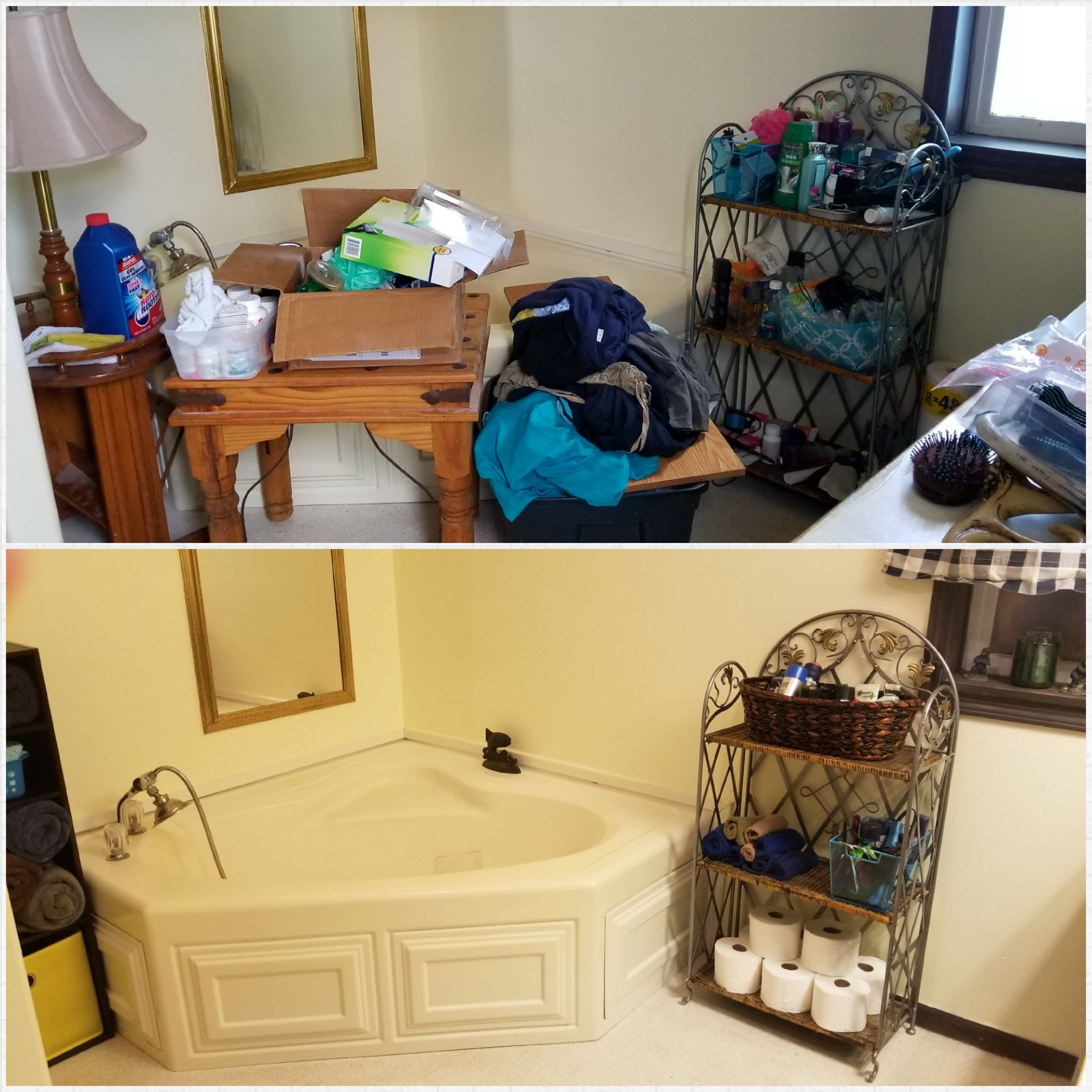 Before and After declutter bathroom