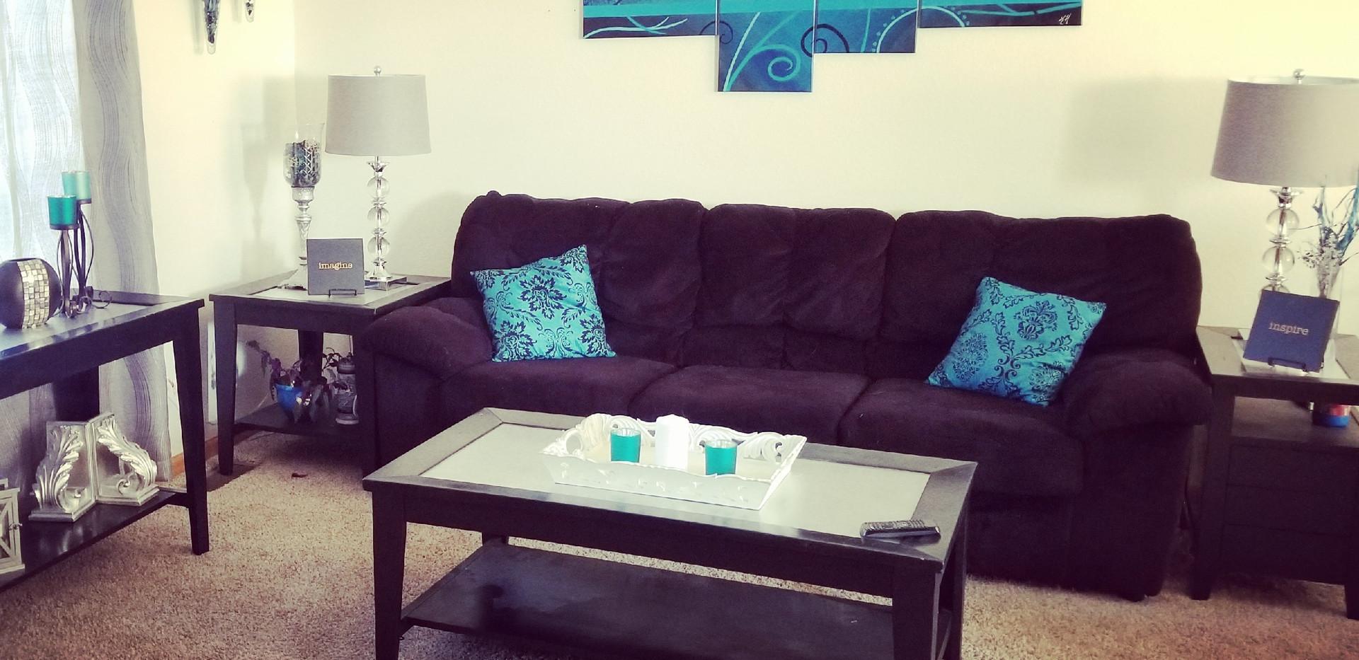 Black and blue living room decor
