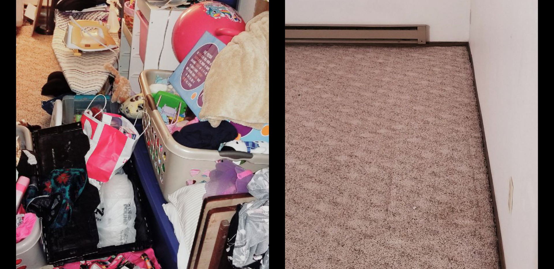 Before and after organizing pictures, hoarding, clean out services, south dakota, home organizing