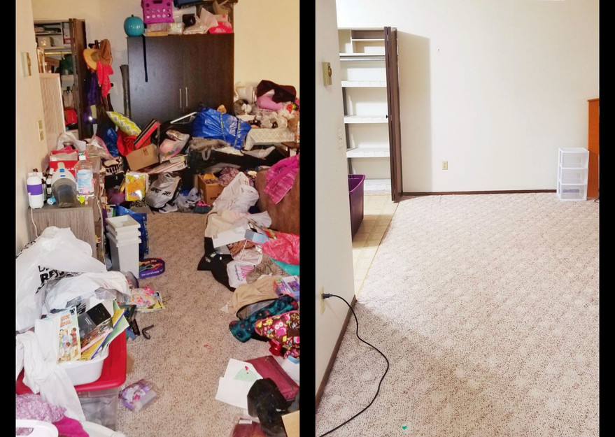 Before and after organizing, hoarding, clean out services, south dakota, home organizing