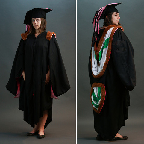Academic hoods are designed to be fastened to a shirt button, as illustrated. For people who prefer to march in clothes other than button down shirts, this often results in persistent pressure against the neck (mild strangulation). THE REGALIA PROJECT re-imagines the academic hood as an adjustable backpack, increasing comfort and expressing an unwavering pursuit of knowledge.